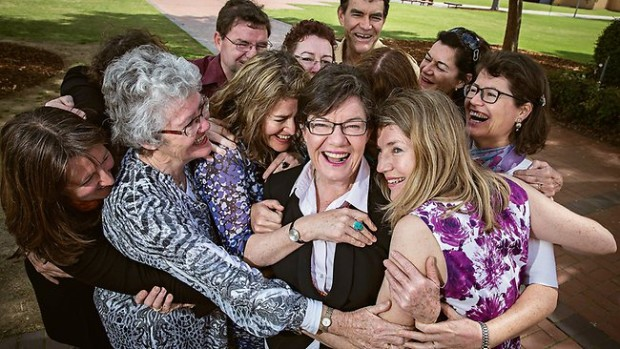 Cathy McGowan with her siblings in Albury last month. Picture: Jake Nowakowski Cathy McGowan with her brothers, sisters, nieces and perhaps a nephew or two tich in there. Source: TheAustralian